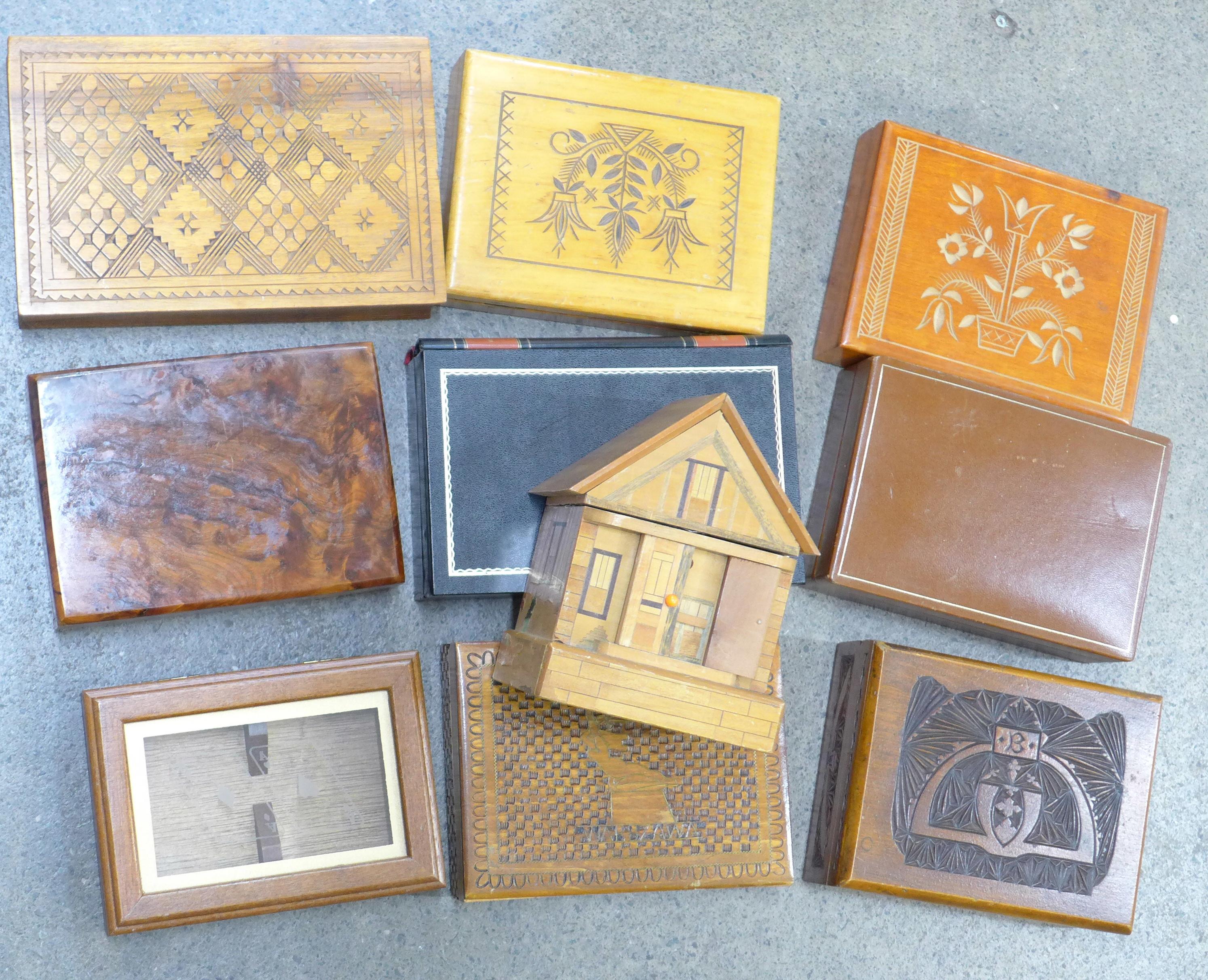 Lot 643 - Ten wooden boxes including a money bank