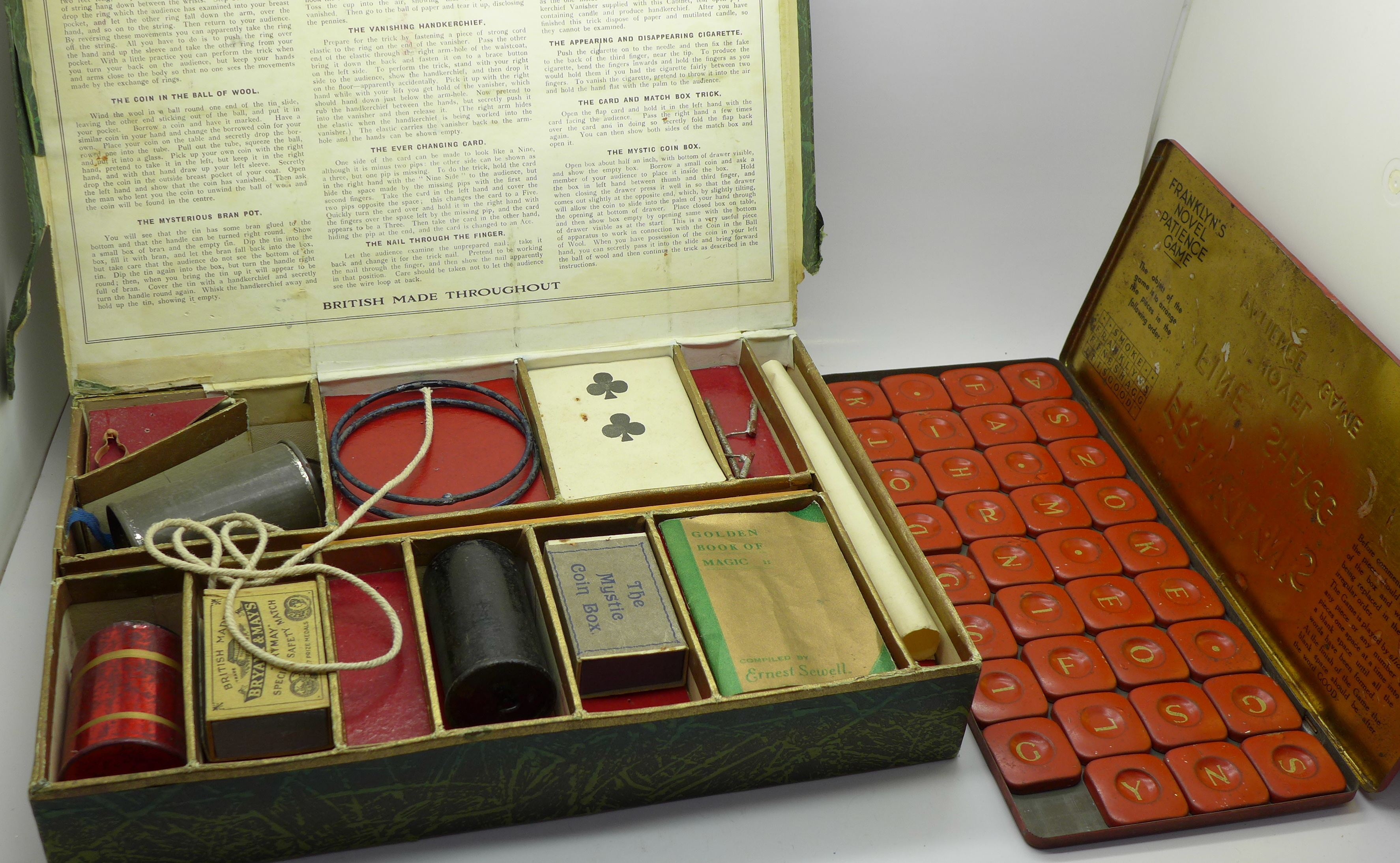 Lot 627 - A tin Franklyn's Fine Shagg Novel Patience Game and a boxed The Ernest Sewell Cabinet of Conjuring
