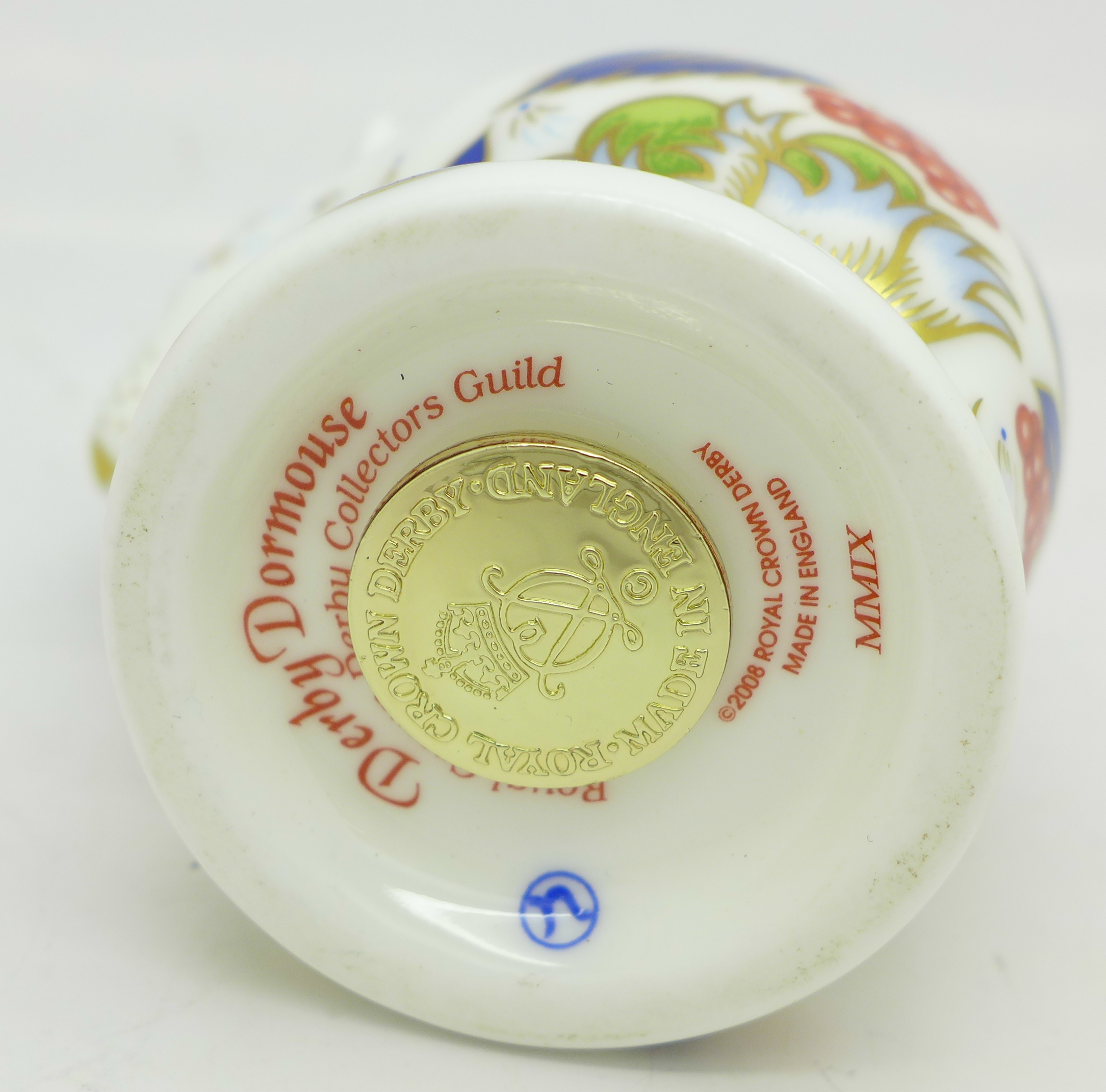 Lot 618 - A Royal Crown Derby Collectors Guild paperweight, Derby Dormouse,