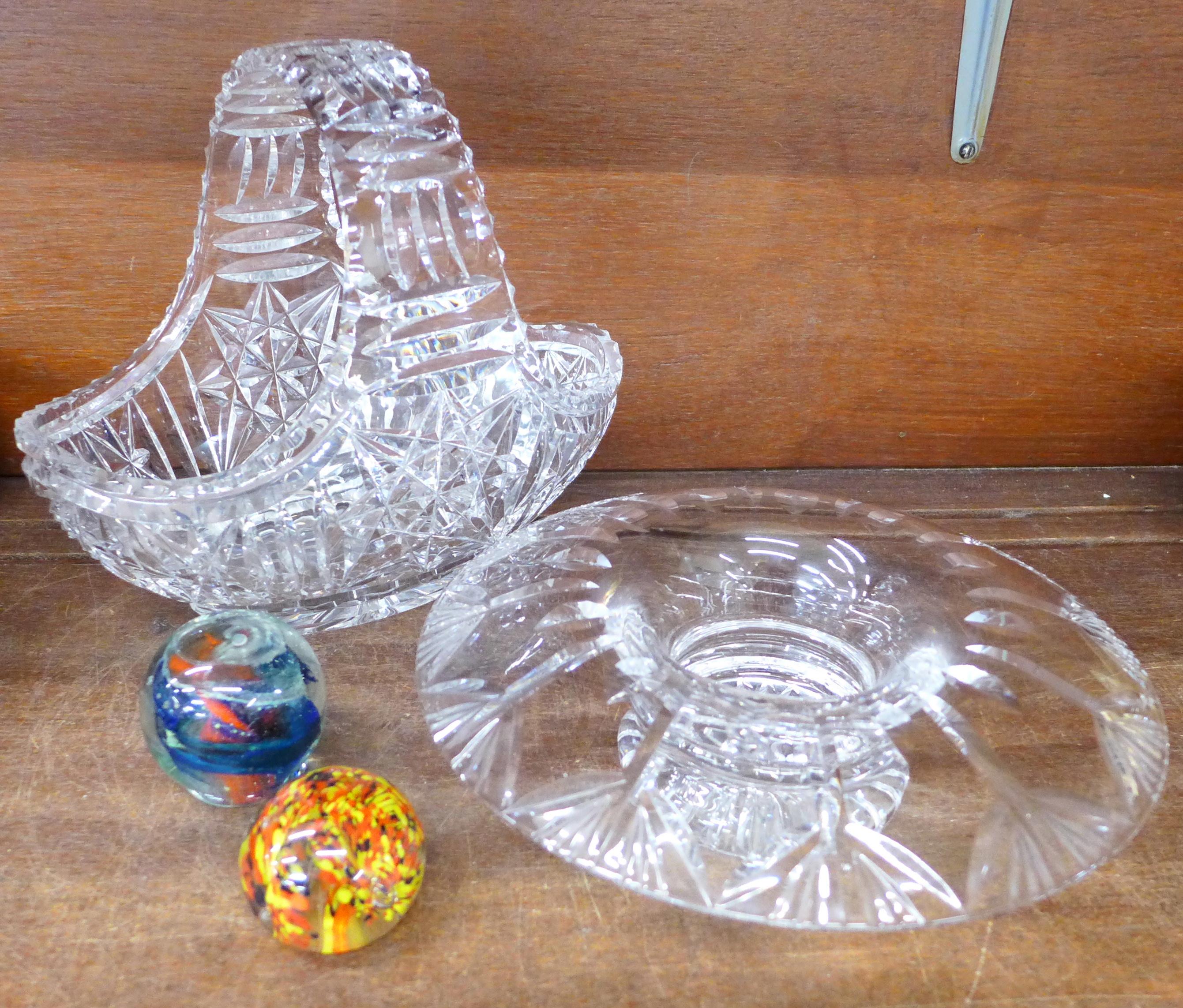 Lot 675 - A large glass basket,