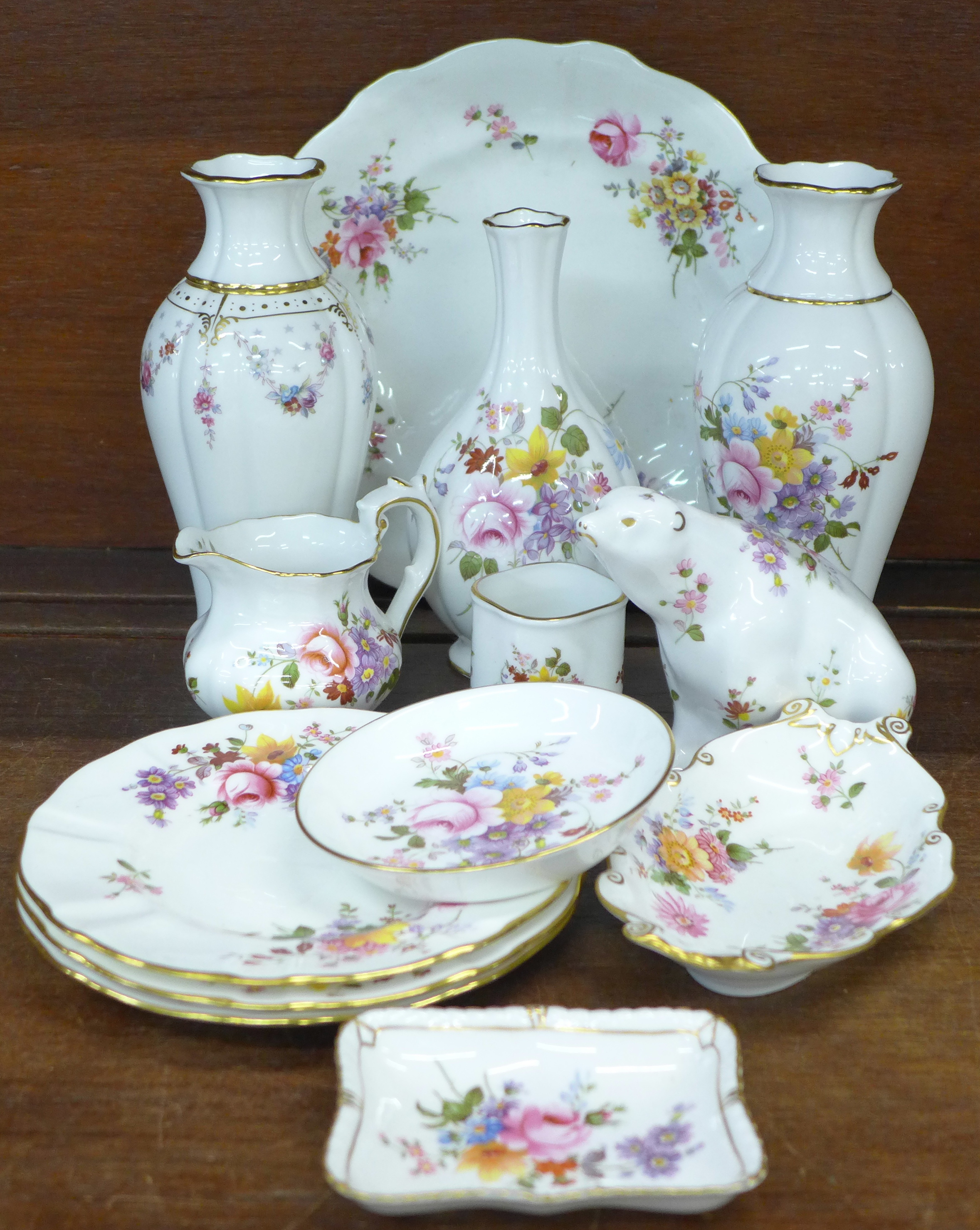Lot 666 - Royal Crown Derby Derby Posies china and an Antoinette vase, second,