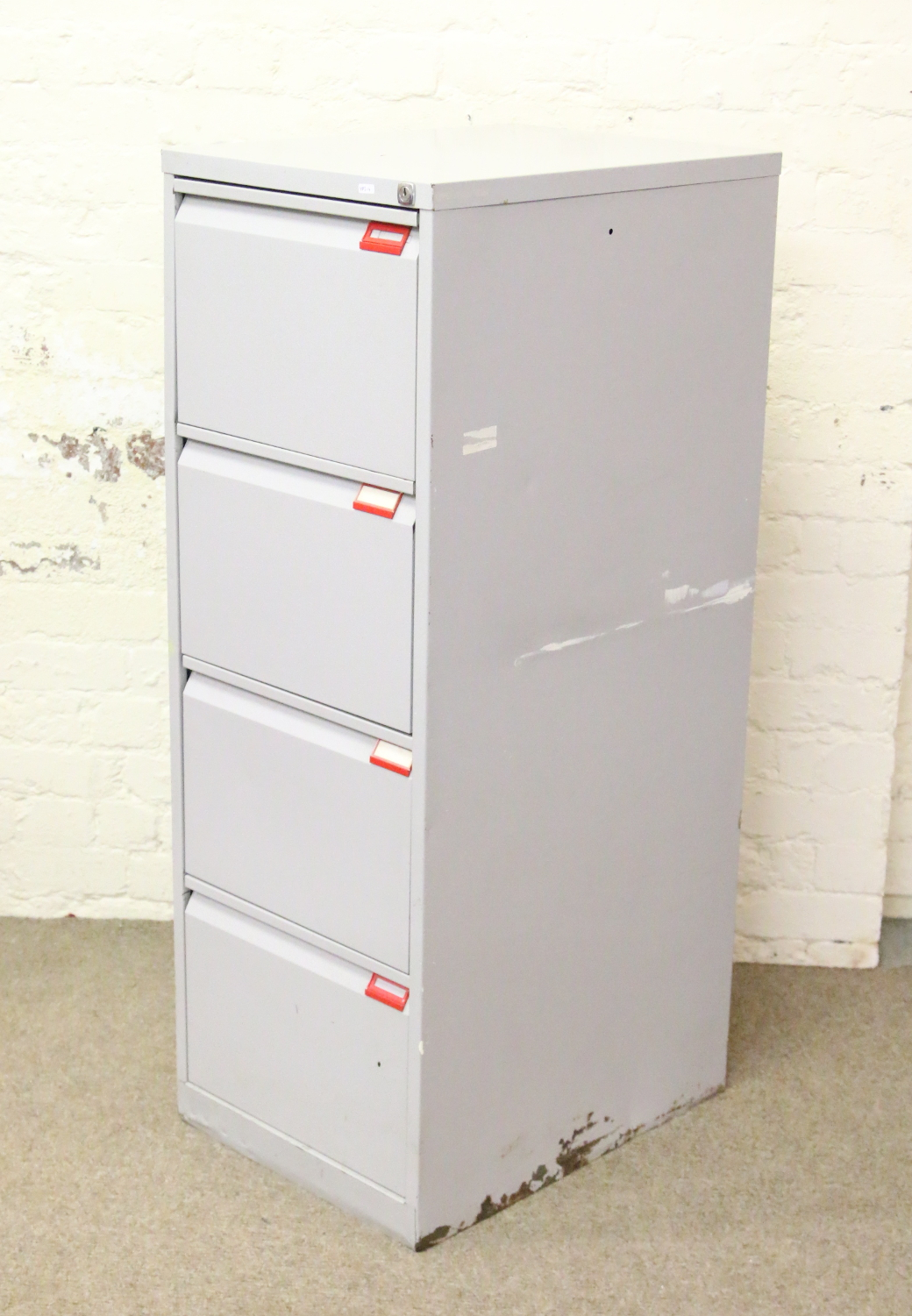 Lot 500   A Steel Four Drawer Filing Cabinet And Contents Of Empty Hanging  Files.