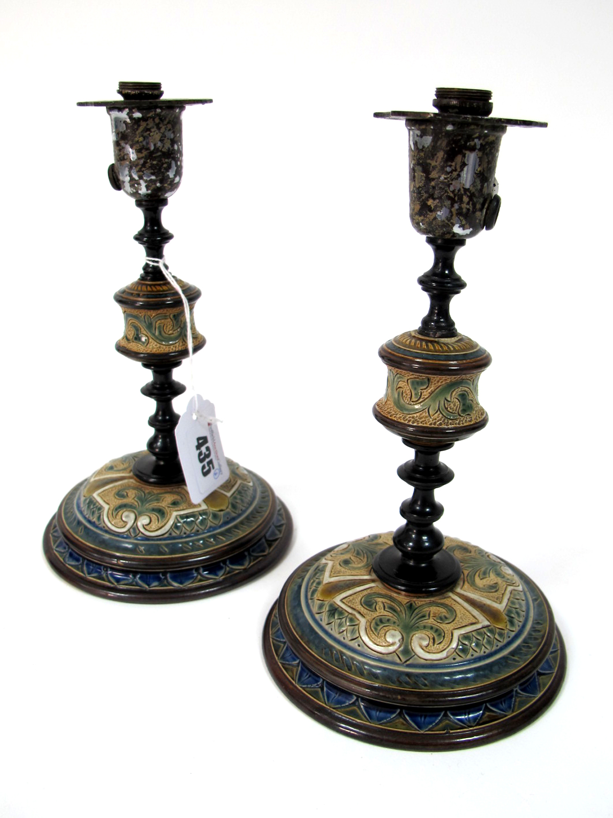 Lot 435 - A Pair of Doulton Lambeth Stoneware Candlesticks, designed by Frank Butler, signed in monogram, with