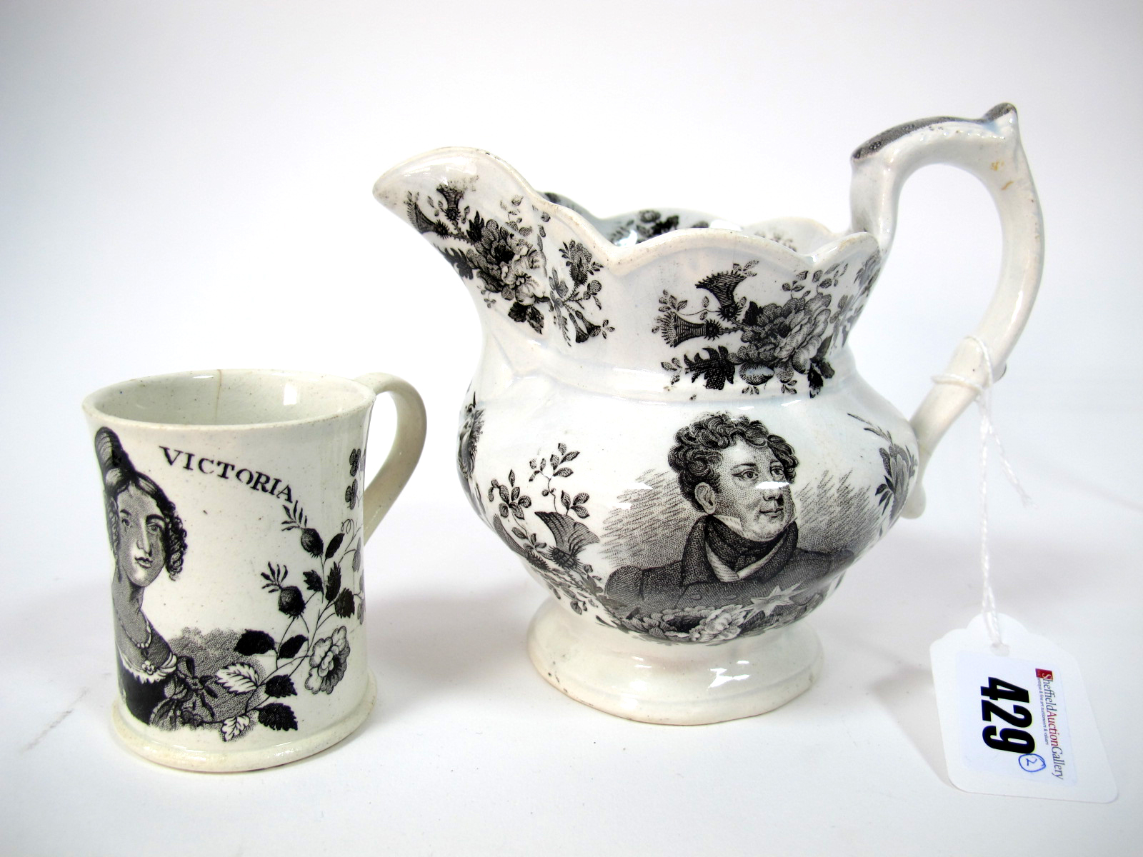 Lot 429 - A Goodwin Bridgwood & Harris Pottery Jug to Commemorate the Death of George IV, printed in black
