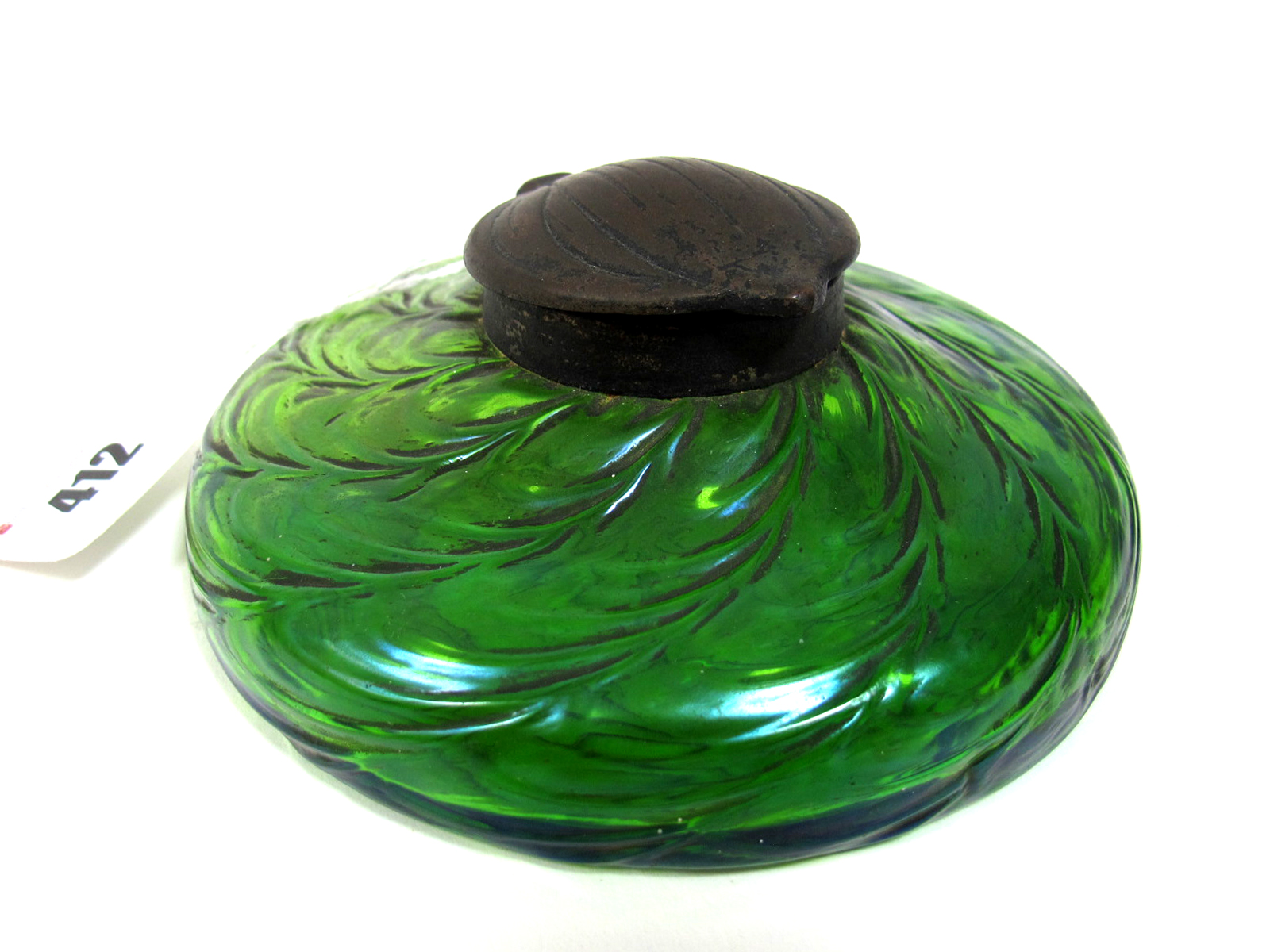 Lot 412 - An Early XX Century Irridescent Green Glass Inkwell in the Loetz Style, of squat circular form