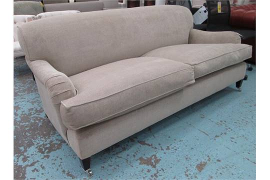 GEORGE SMITH SOFA, Howard Style, With Manuel Canova Oatmeal Upholstery On  Castors, 198cm L. (with
