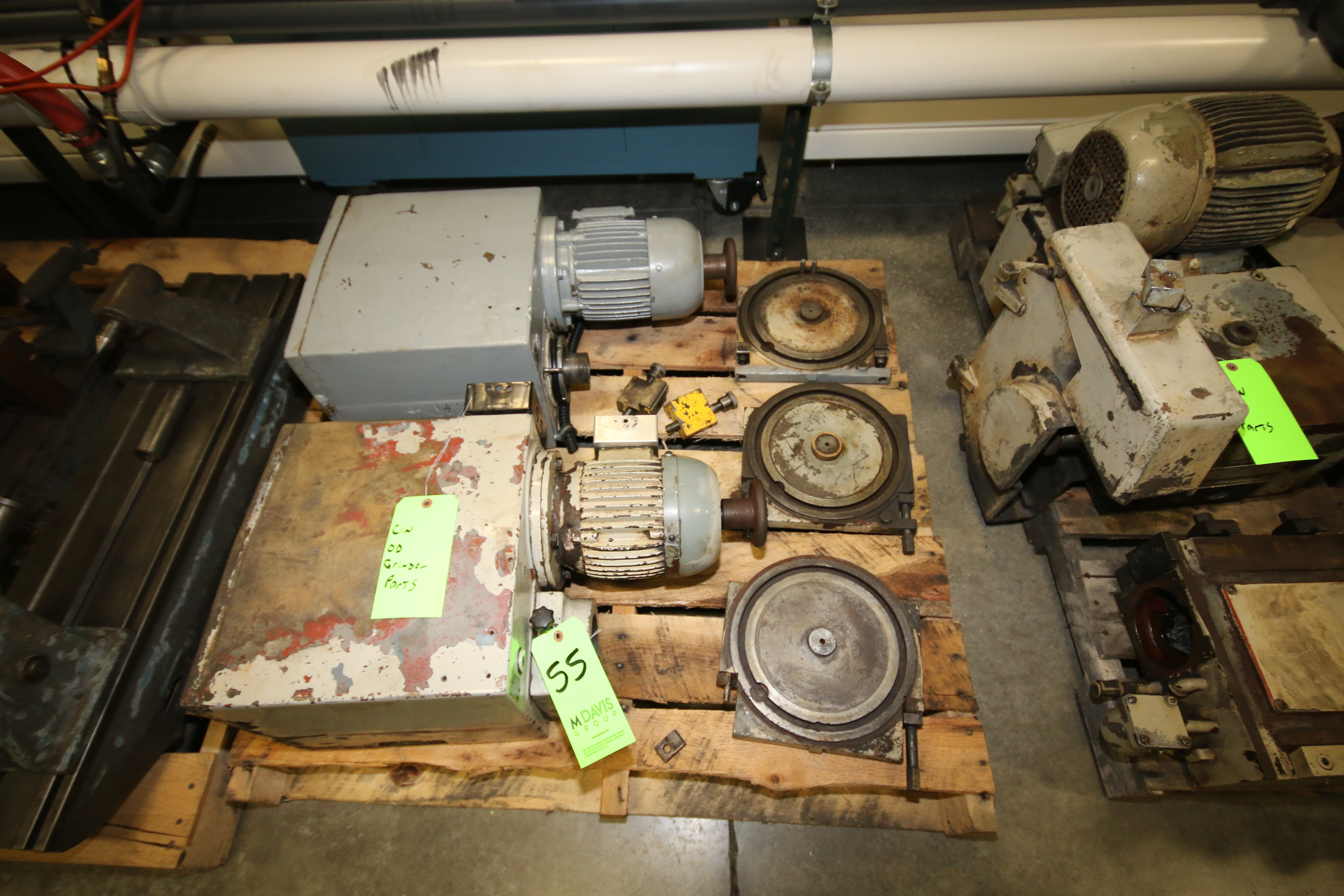 Lot 55 - Cincinnati R-Series OD Grinder Parts including Workheads (2); Mounting Plates (3)