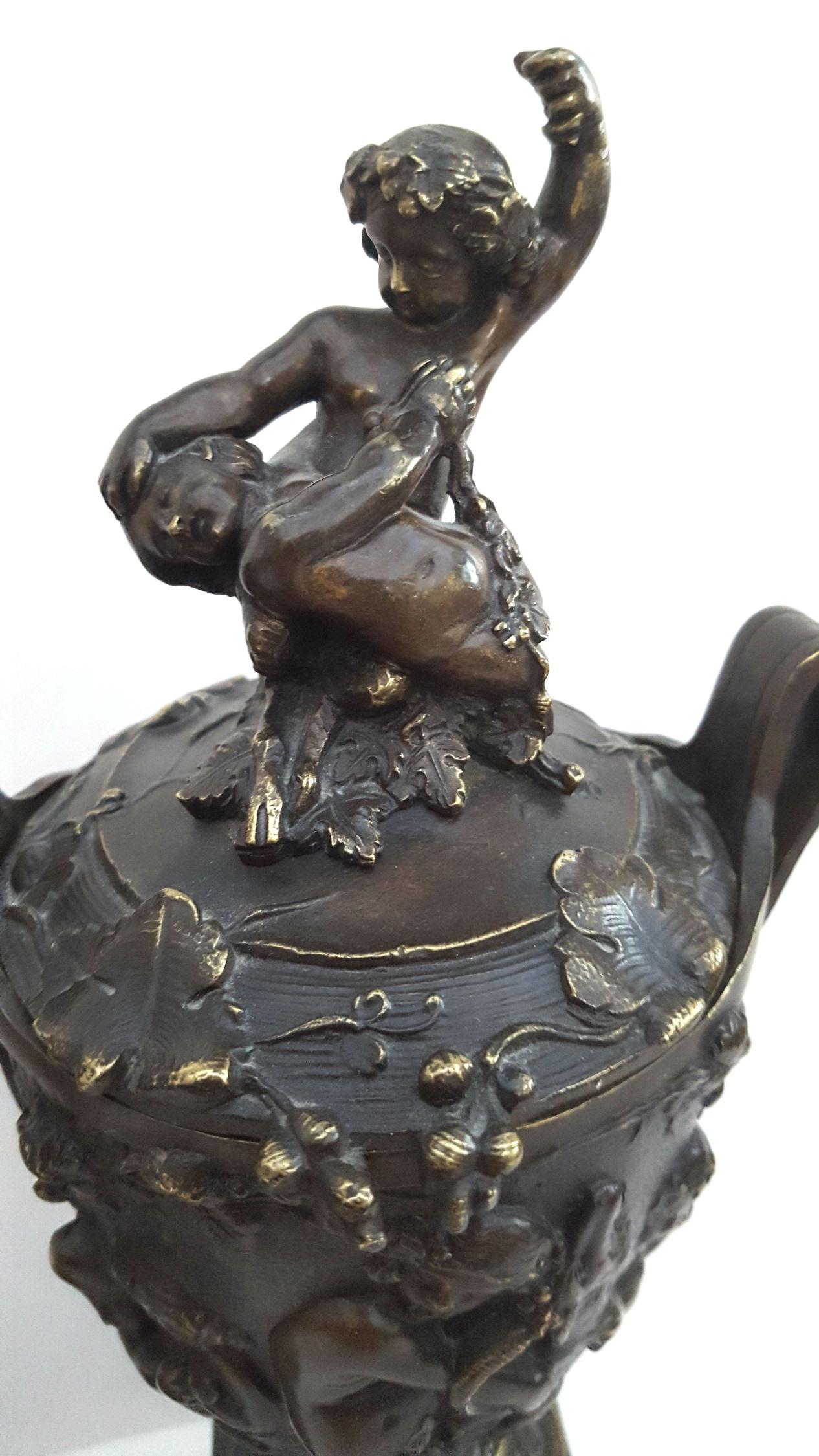 Antique 2 Bronze Lidded Vases On Slate Plinths Depicting Fauns Ram Lion Bacchus & Grape Vines - Image 3 of 5