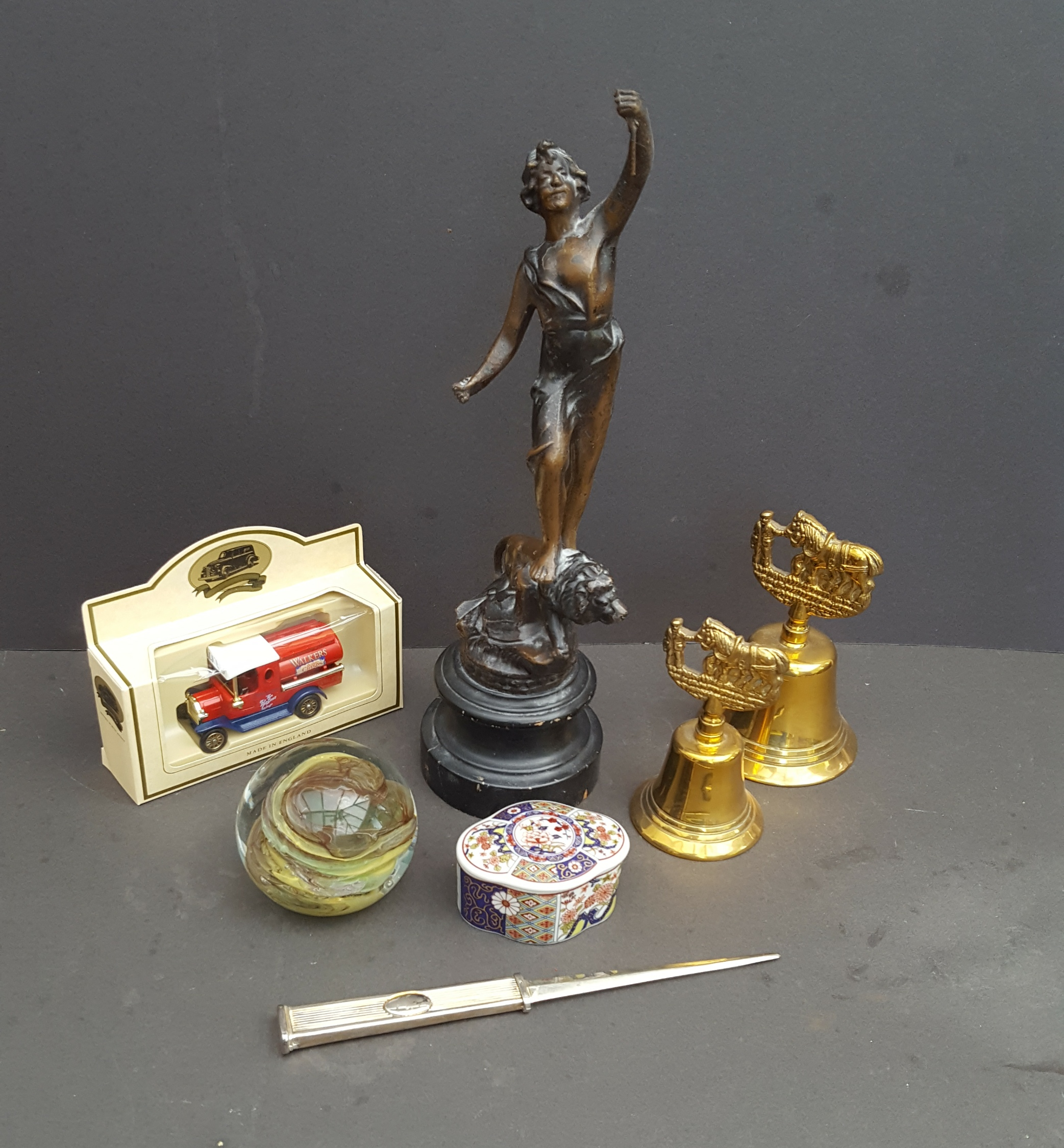 Lot 36 - Vintage Retro Parcel of Collectables Includes Spelter Statue Paperweight & Brass Bells NO RESERVE