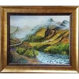 Collectable Modern Art Oil on Canvas Scottish Highland Scene Munro c1976