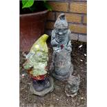 Vintage Garden Ornaments 2 x Gnomes and 1 x Other Figure Reconstituted Stone NO RESERVE