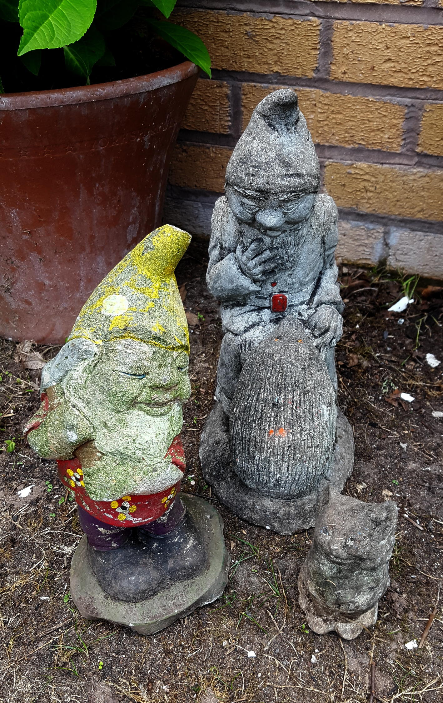Lot 116 - Vintage Garden Ornaments 2 x Gnomes and 1 x Other Figure Reconstituted Stone NO RESERVE
