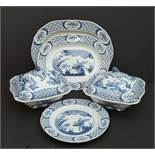 Collection of Blue & White Furnivals Ltd Old Chelsea China Total Of 7 Pieces Reg No c1913