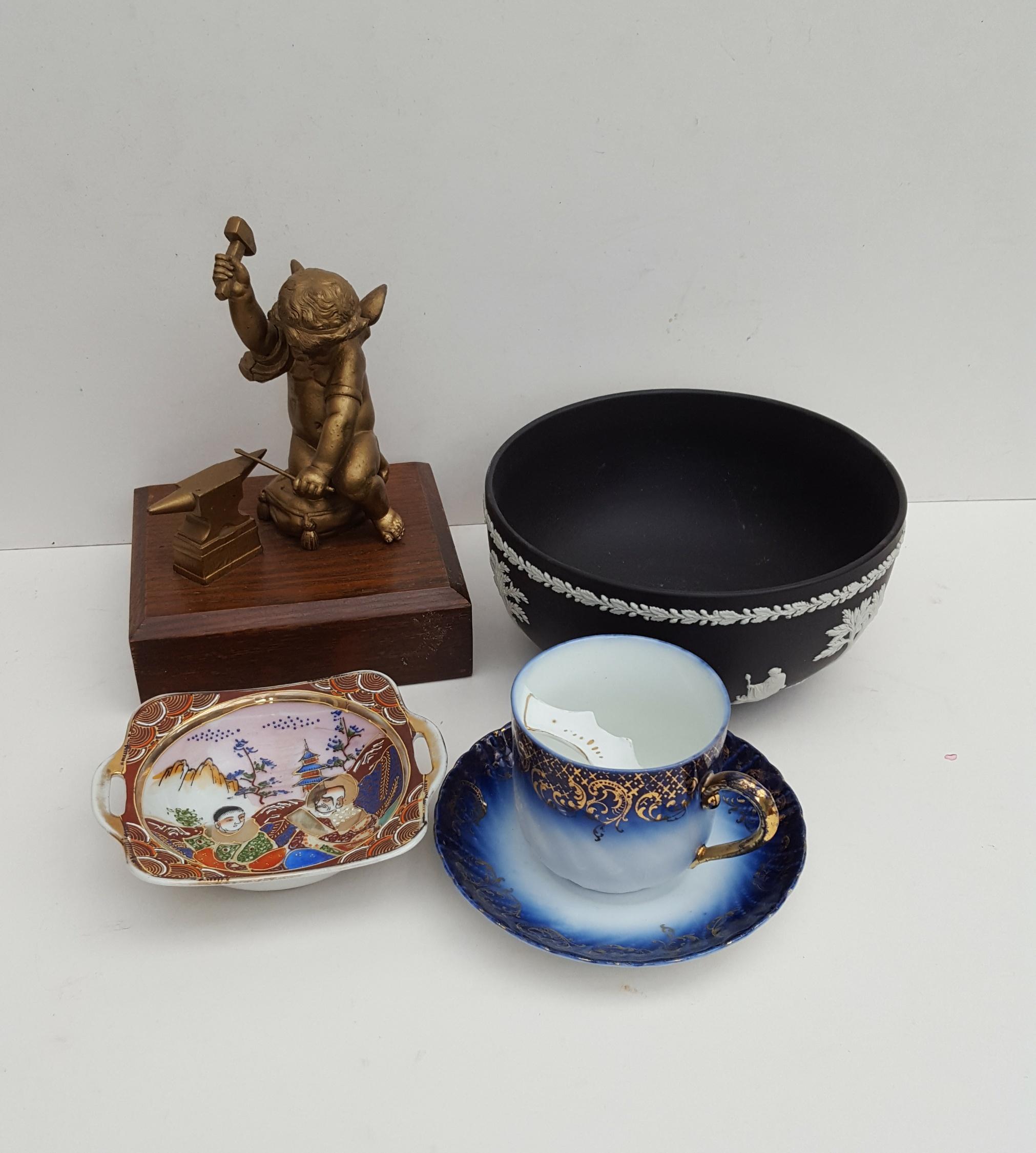 Lot 37 - Vintage Retro Items Black Wedgwood Jasper Bowl Flow Blue Moustache Cup & Brass Figure NO RESERVE