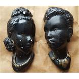 Vintage Retro Kitsch Wall Plaques Asian Busts NO RESERVE