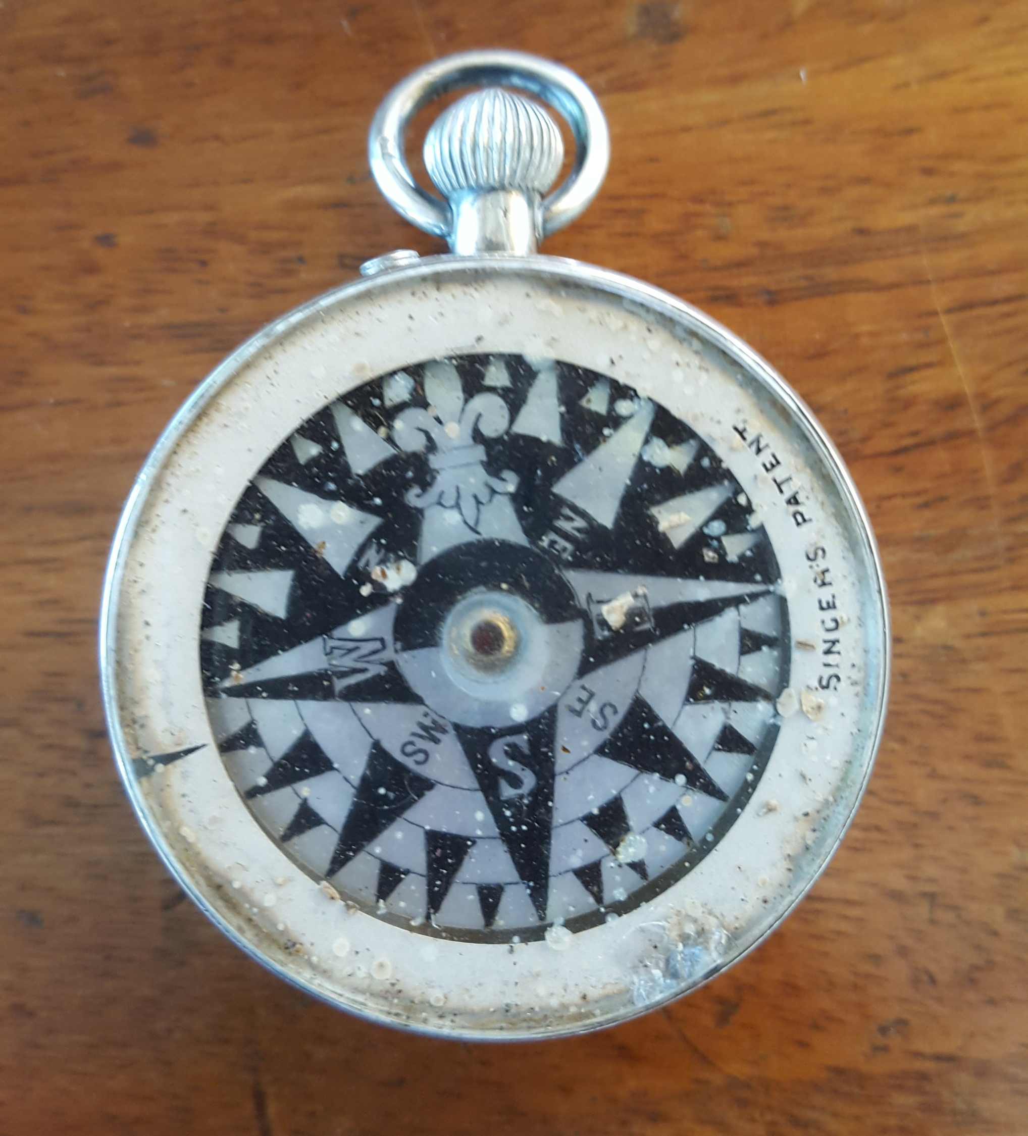 Antique Sterling Silver W Thornhill & Co. Compensated Pocket Barometer with Compass - Image 3 of 3