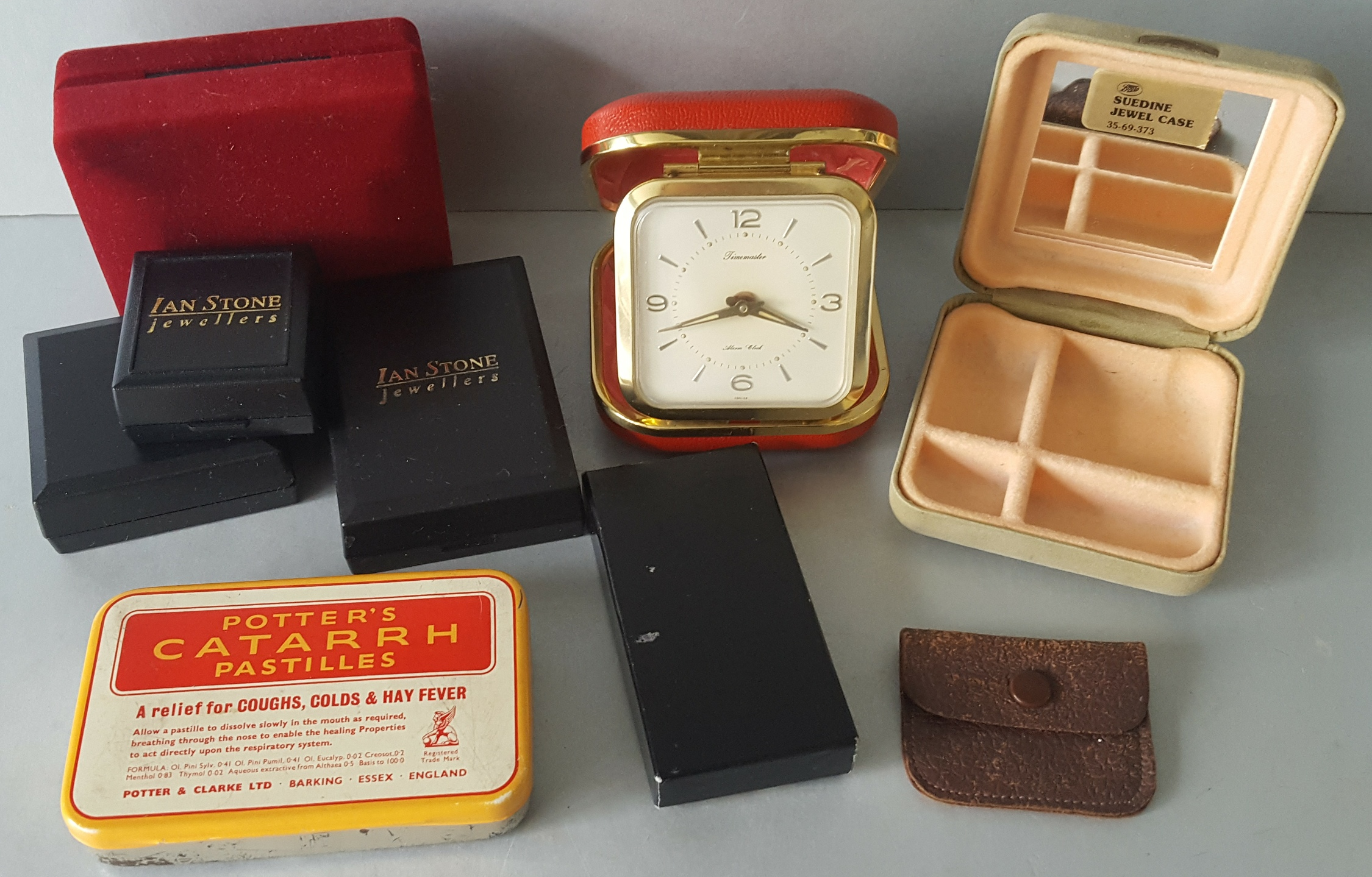 Lot 73 - Vintage Retro Parcel of Jewellery Boxes, Tin & Time Mater Travel Alarm Clock NO RESERVE