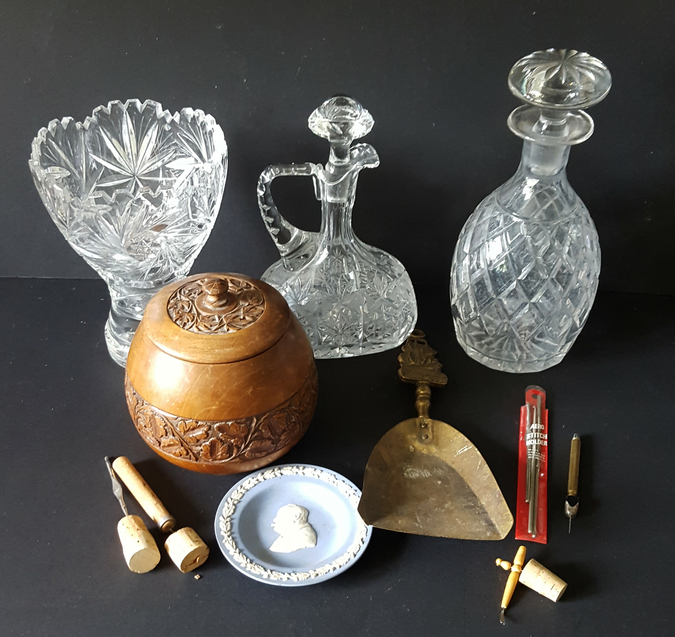 Lot 102 - Vintage Retro Parcel of Decanters Wedgwood Brass Lace Work Tools & Treen NO RESERVE