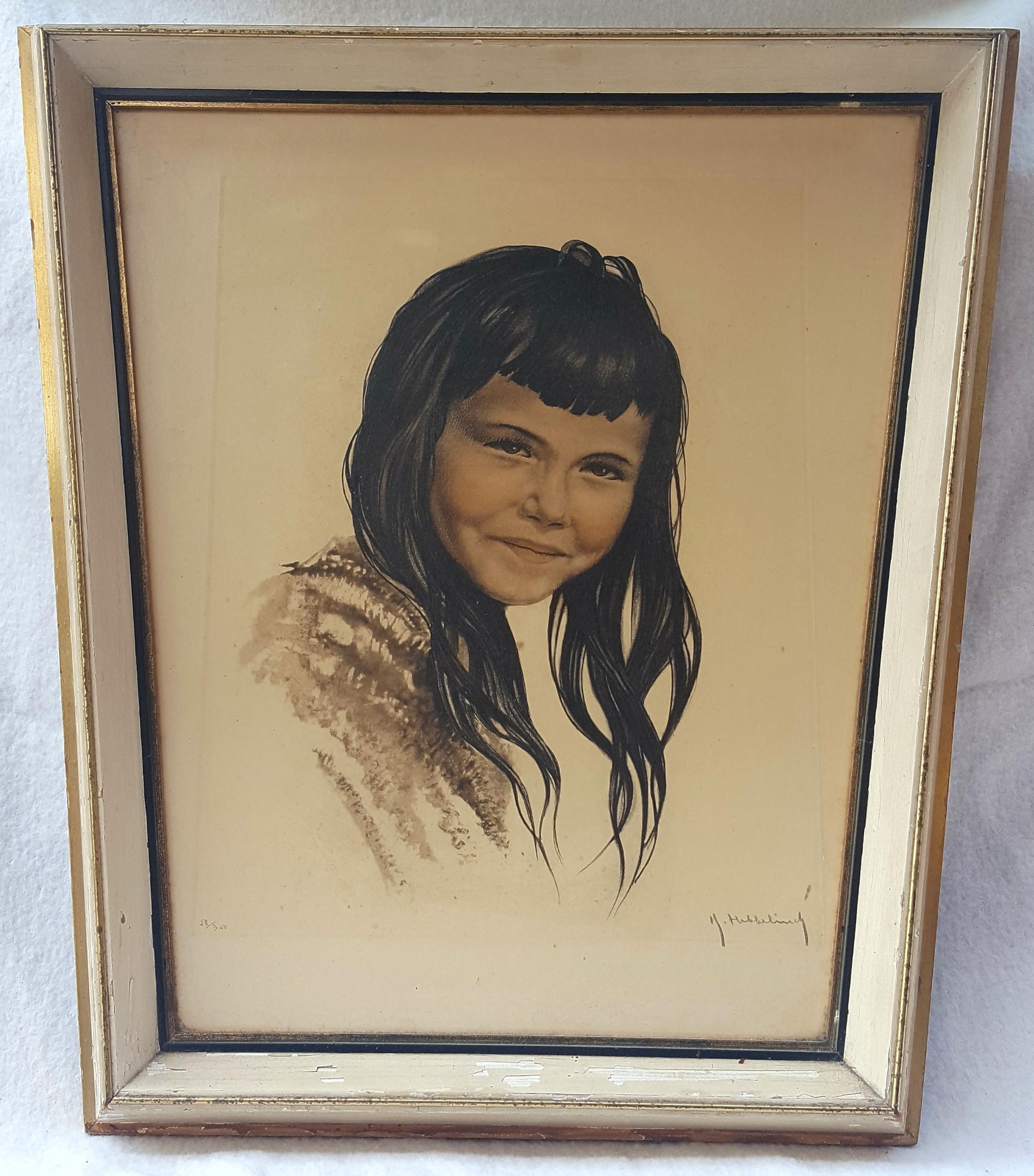 Vintage Retro Aquatint Print Mexican Girl In Folk Costume