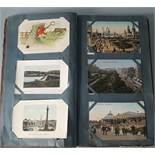 Antique Vintage Postcard Album Over 90 Plus Postcards c1905