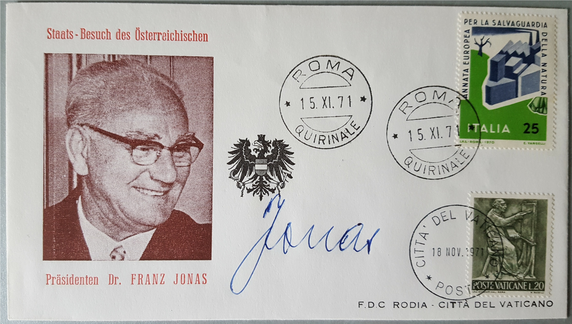 Lot 60 - Vintage Autograph Franz Jonas President of Austria on First Day Cover Dated 1971 NO RESERVE