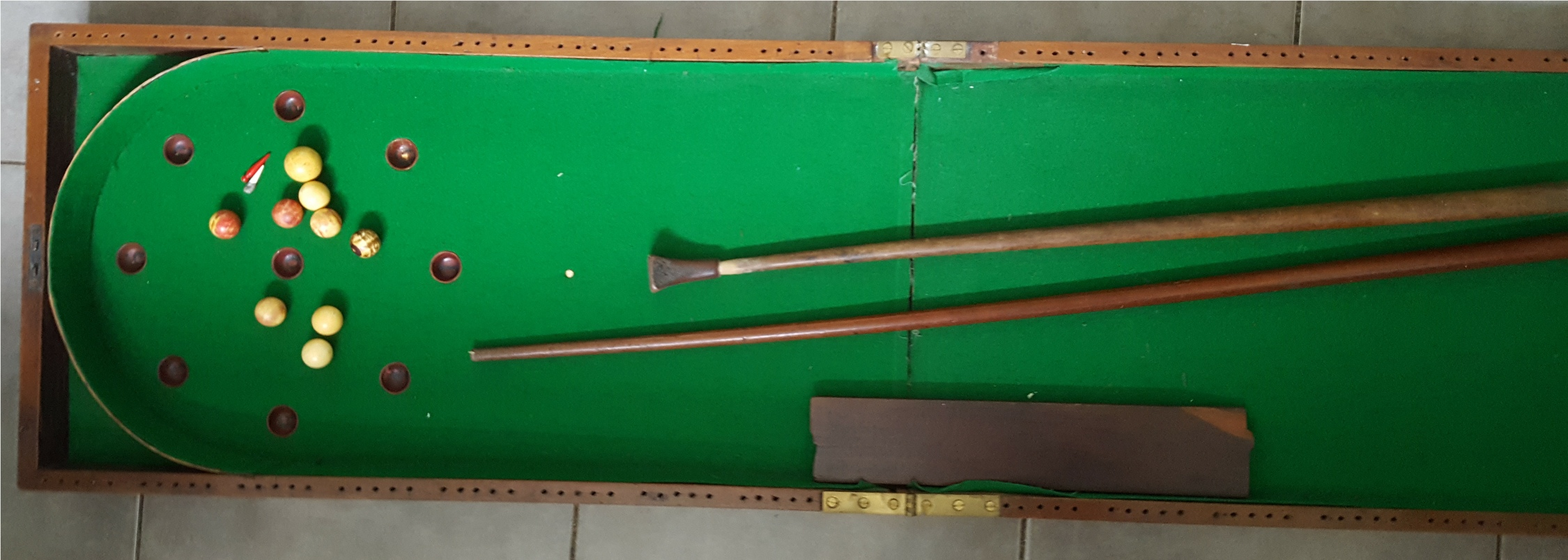 Antique Vintage Snooker Style Bagatelle Board