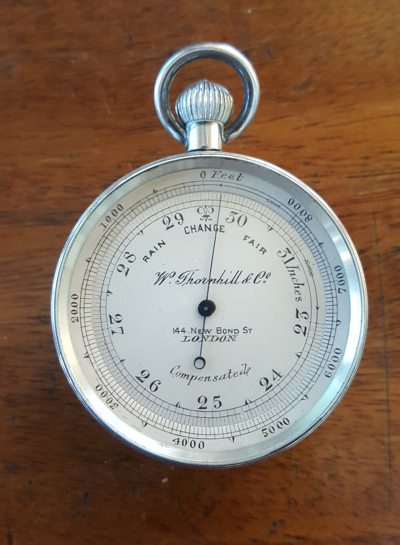 Antique Sterling Silver W Thornhill & Co. Compensated Pocket Barometer with Compass