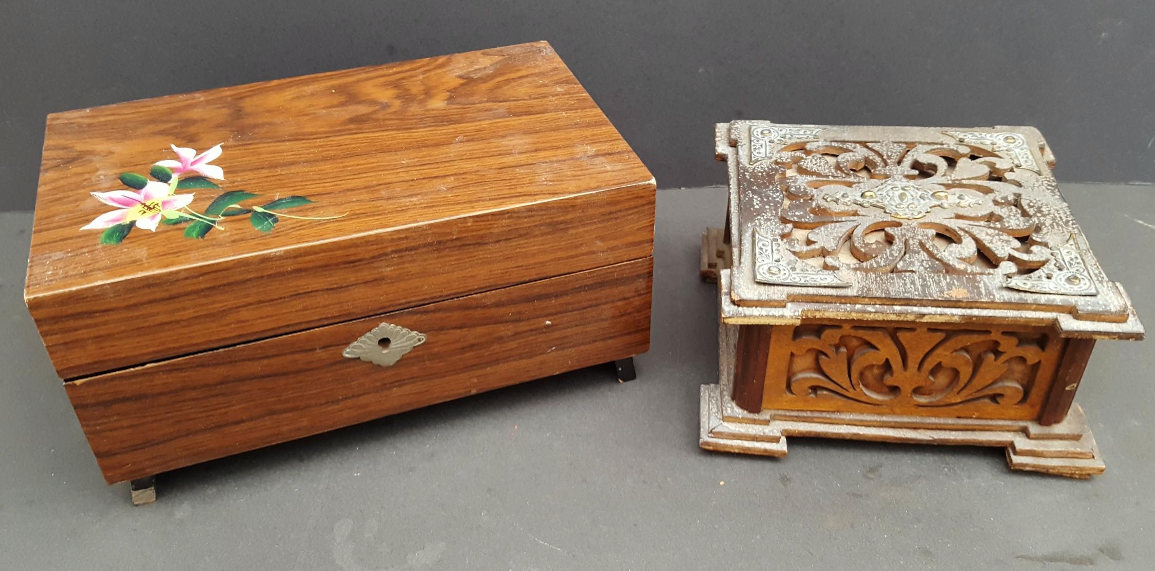 Vintage Retro 2 x Jewellery Box 1 Musical NO RESERVE