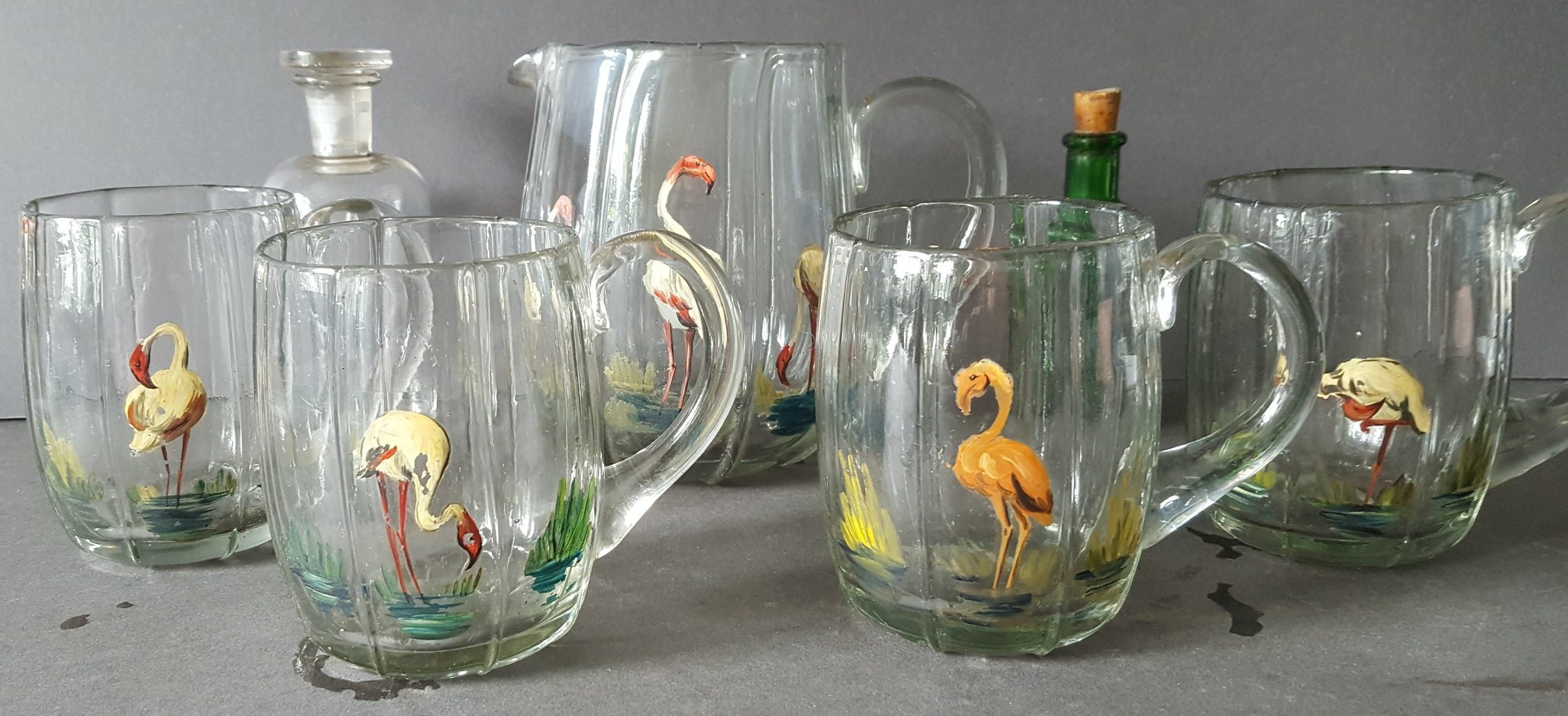 Lot 107 - Antique Vintage Retro Hand Made & Hand Painted Jug & 4 Matching Glasses Plus 2 Collectable Bottles