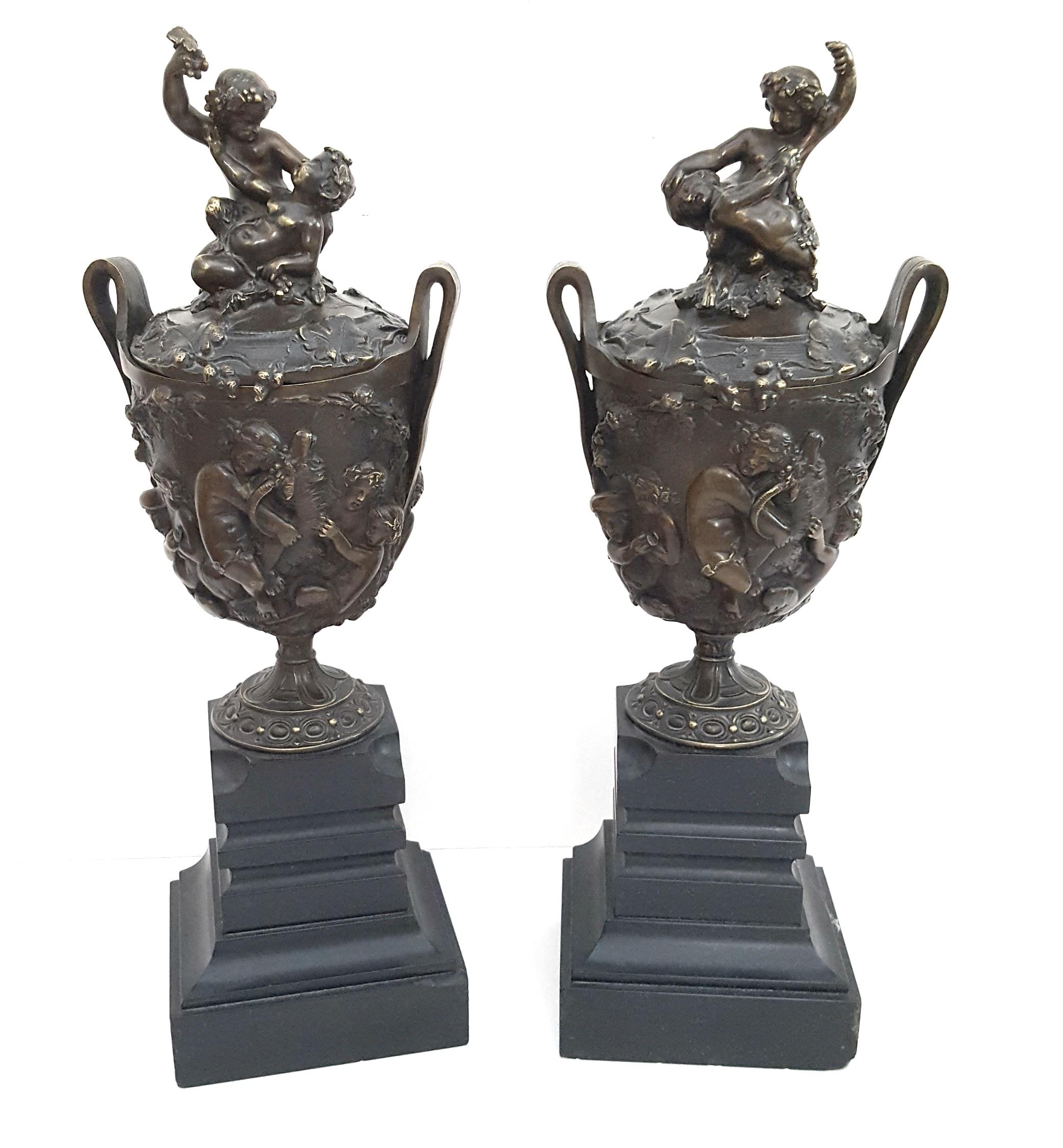 Antique 2 Bronze Lidded Vases On Slate Plinths Depicting Fauns Ram Lion Bacchus & Grape Vines