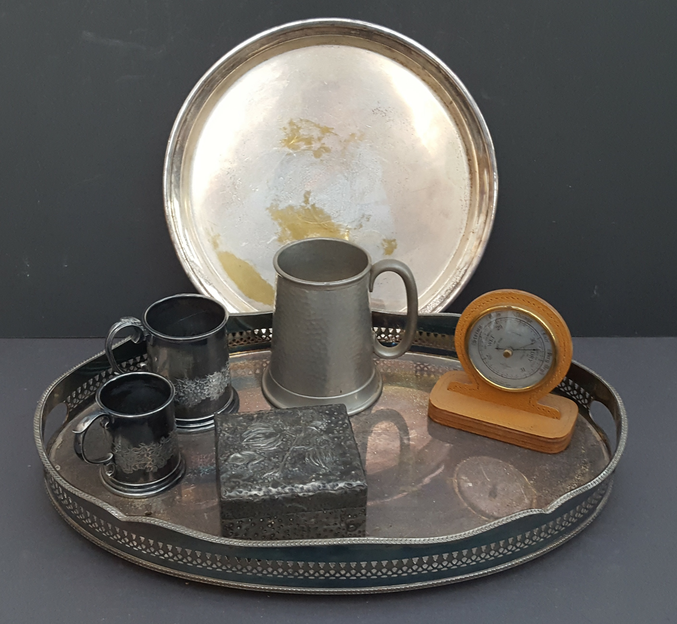 Lot 44 - Antique Vintage Tray of Plated Ware Pewter Ware & Travel Barometer.