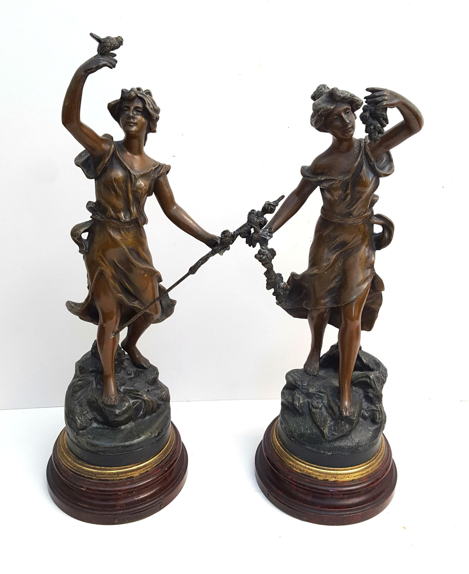 Antique 2 x Spelter Figures on Wood Plinths