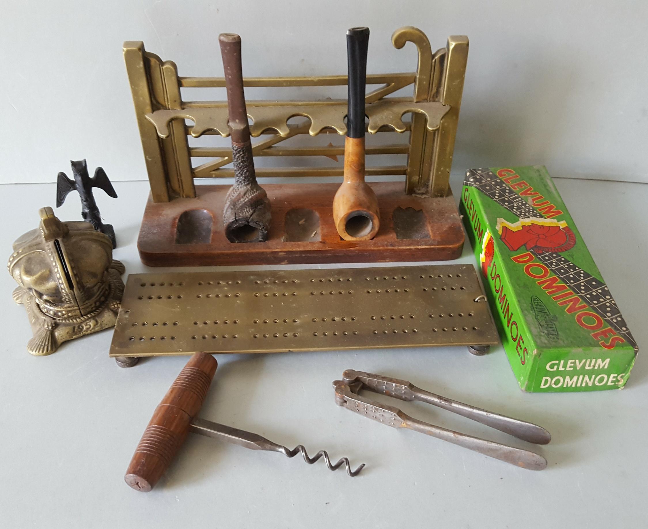 Lot 92 - Antique Vintage Retro Parcel of Brass Briar Pipes Dominoes Crib Board Cork Screw