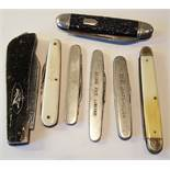 Vintage Parcel of 7 Pen Knives Includes bone Handles Sheffield Blades & Advertising