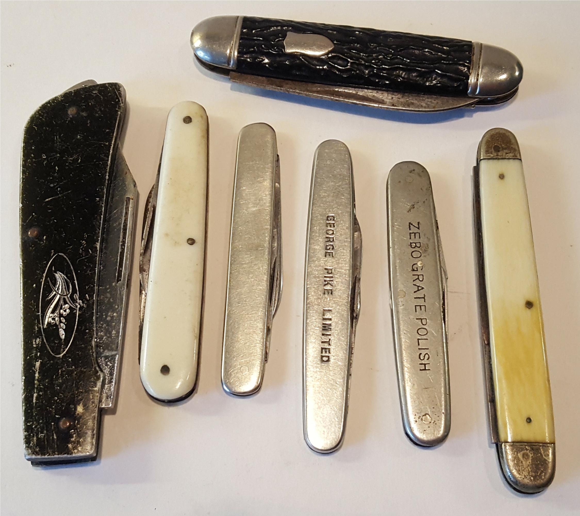 Lot 97 - Vintage Parcel of 7 Pen Knives Includes bone Handles Sheffield Blades & Advertising