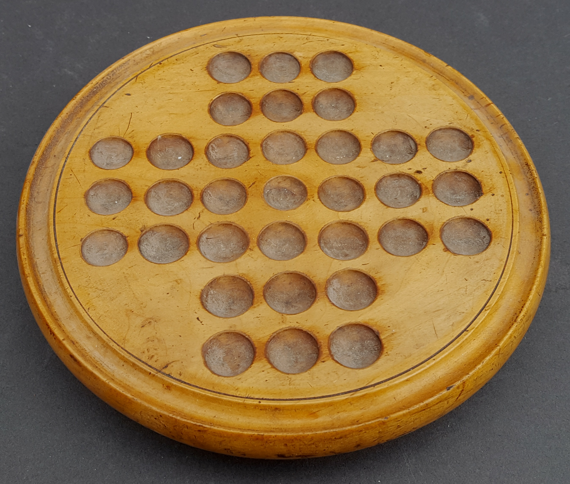 Lot 22 - Antique Vintage Wooden Solitaire Game With Original Marbles