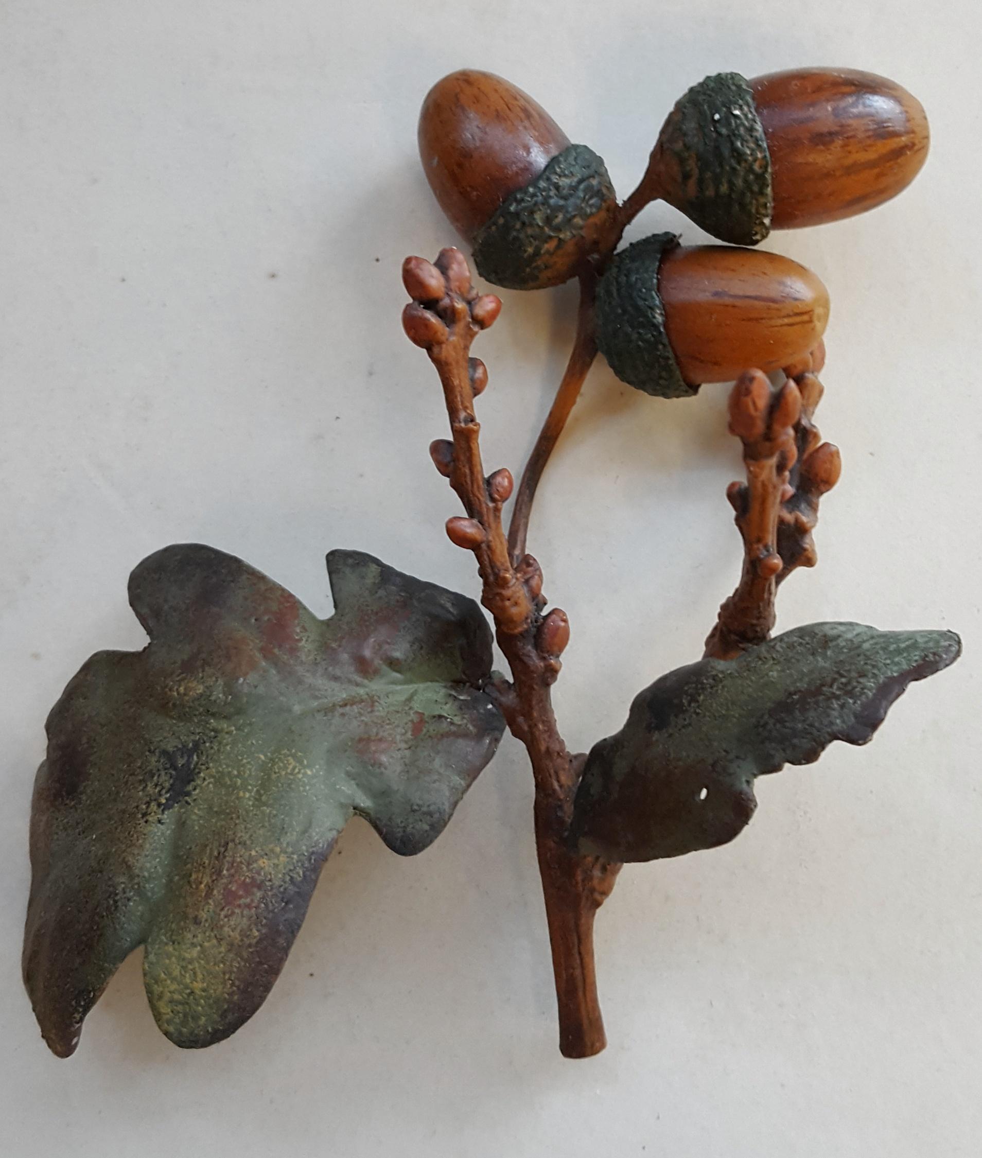 Antique Vintage Cold Painted Metal Oak Leaf Stem & Acorns