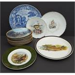 Vintage Collection 14 Collectable Plates Includes Victorian Spode Blue & White Birds & Fish