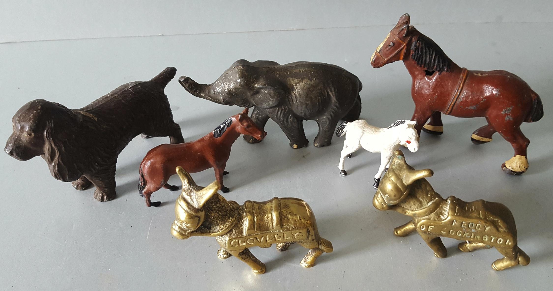 Lot 110 - Vintage Metal Toy Animal Figures Elephant Horses and Donkeys NO RESERVE