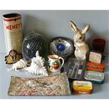 Vintage Retro Parcel of Items Includes Shells Tins Tapestry Glass & Ceramics NO RESERVE