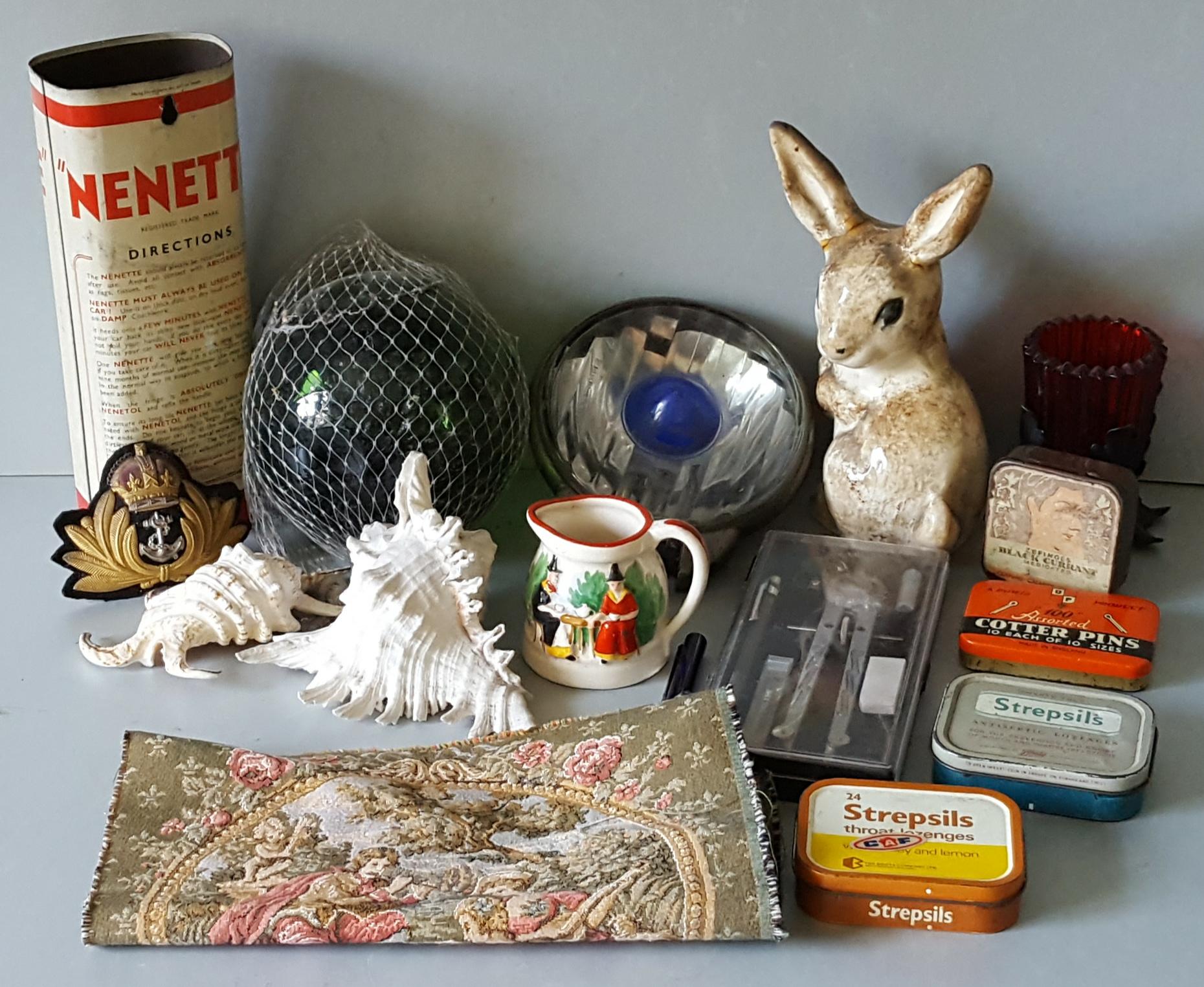 Lot 90 - Vintage Retro Parcel of Items Includes Shells Tins Tapestry Glass & Ceramics NO RESERVE