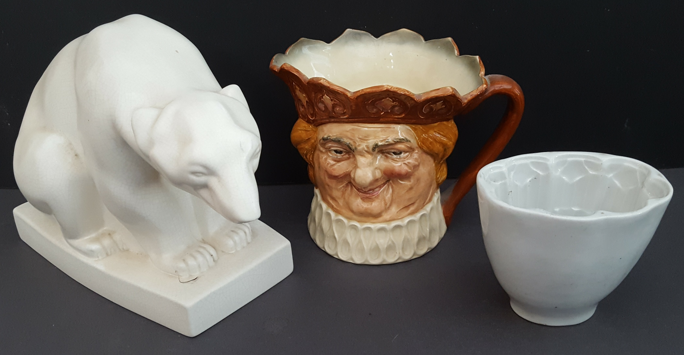 Lot 43 - Antique Vintage Wedgwood Polar Bear Figure Royal Doulton Character Jug & Foley Jelly Mould