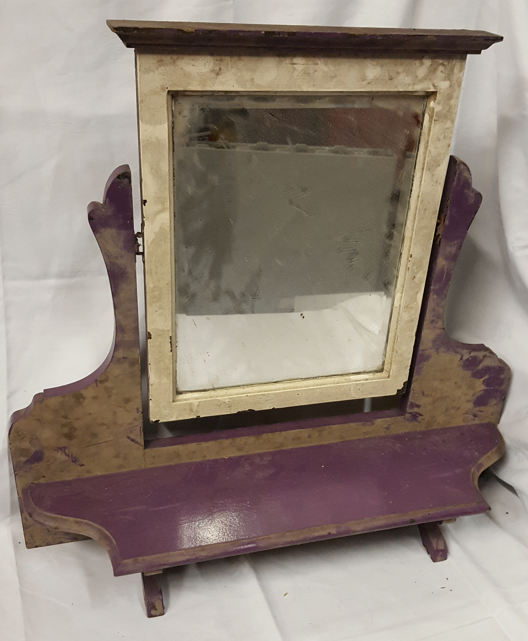 Lot 71 - Antiques Vintage Wash Mirror Victorian / Edwardian & 3 Retro Suitcases Shabby Chic NO RESERVE
