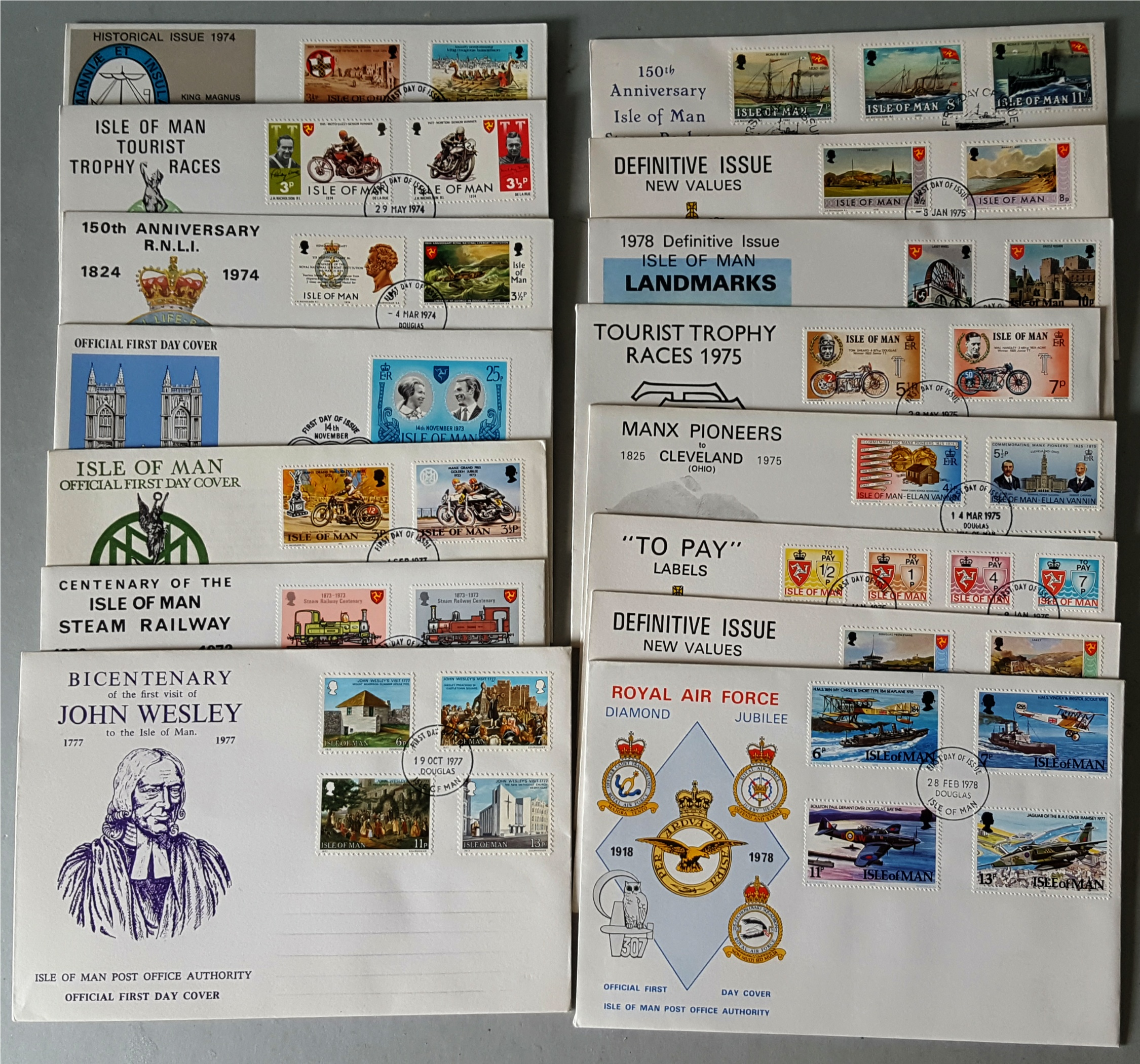 Lot 100 - Vintage Parcel 14 Collectable First Day Cover Isle of Man 1973 to 1980