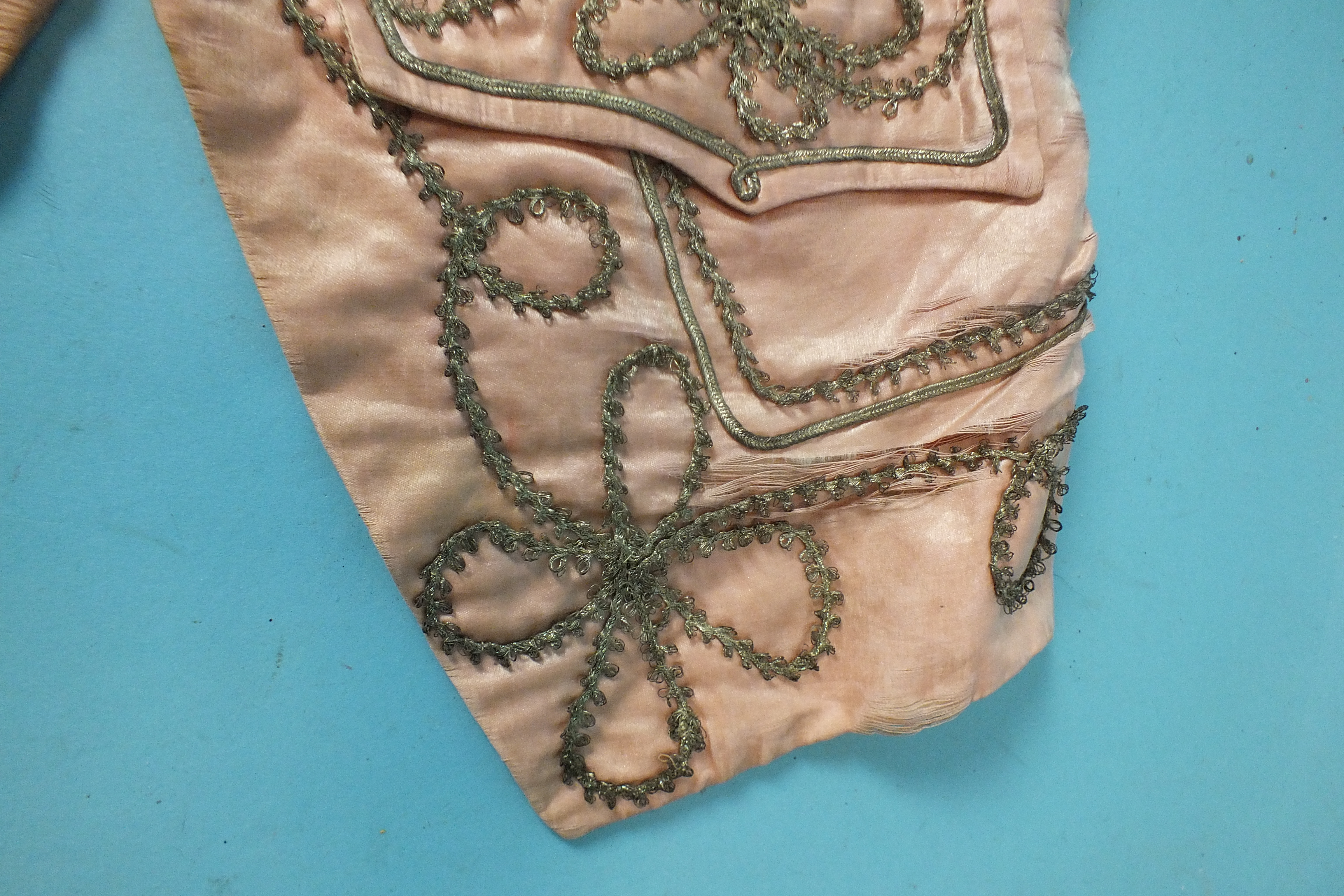 A late-18th century pale pink silk waistcoat, the front panels with applied silver lace and braid, - Image 3 of 5