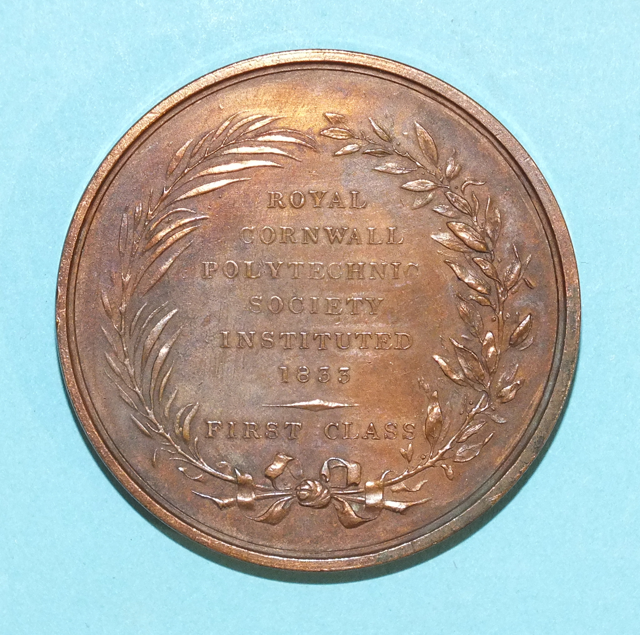 Lot 169 - A British Academic Medal, Bronze 4.5cm wide, Royal Cornwall Polytechnic Society First Class James