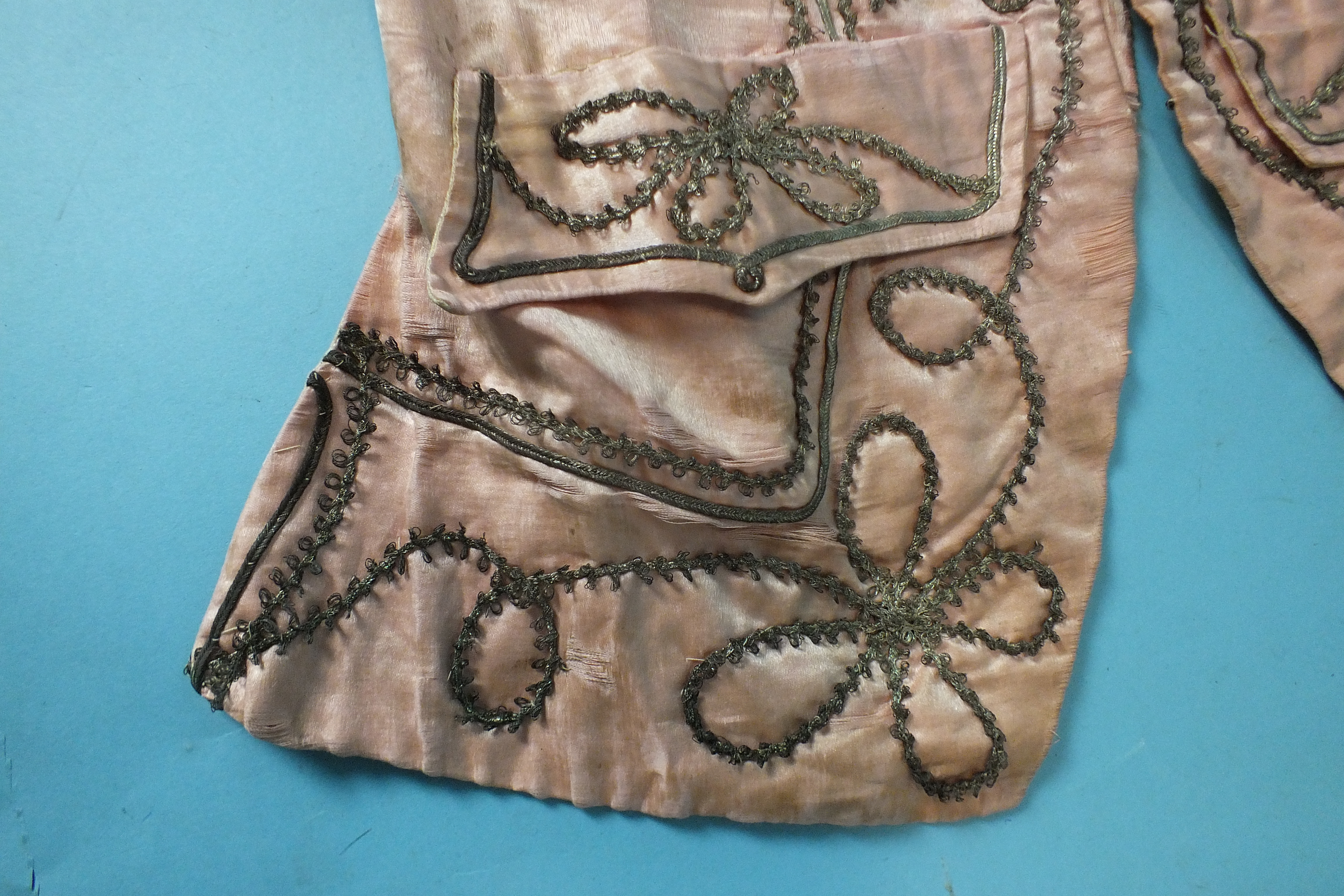A late-18th century pale pink silk waistcoat, the front panels with applied silver lace and braid, - Image 4 of 5