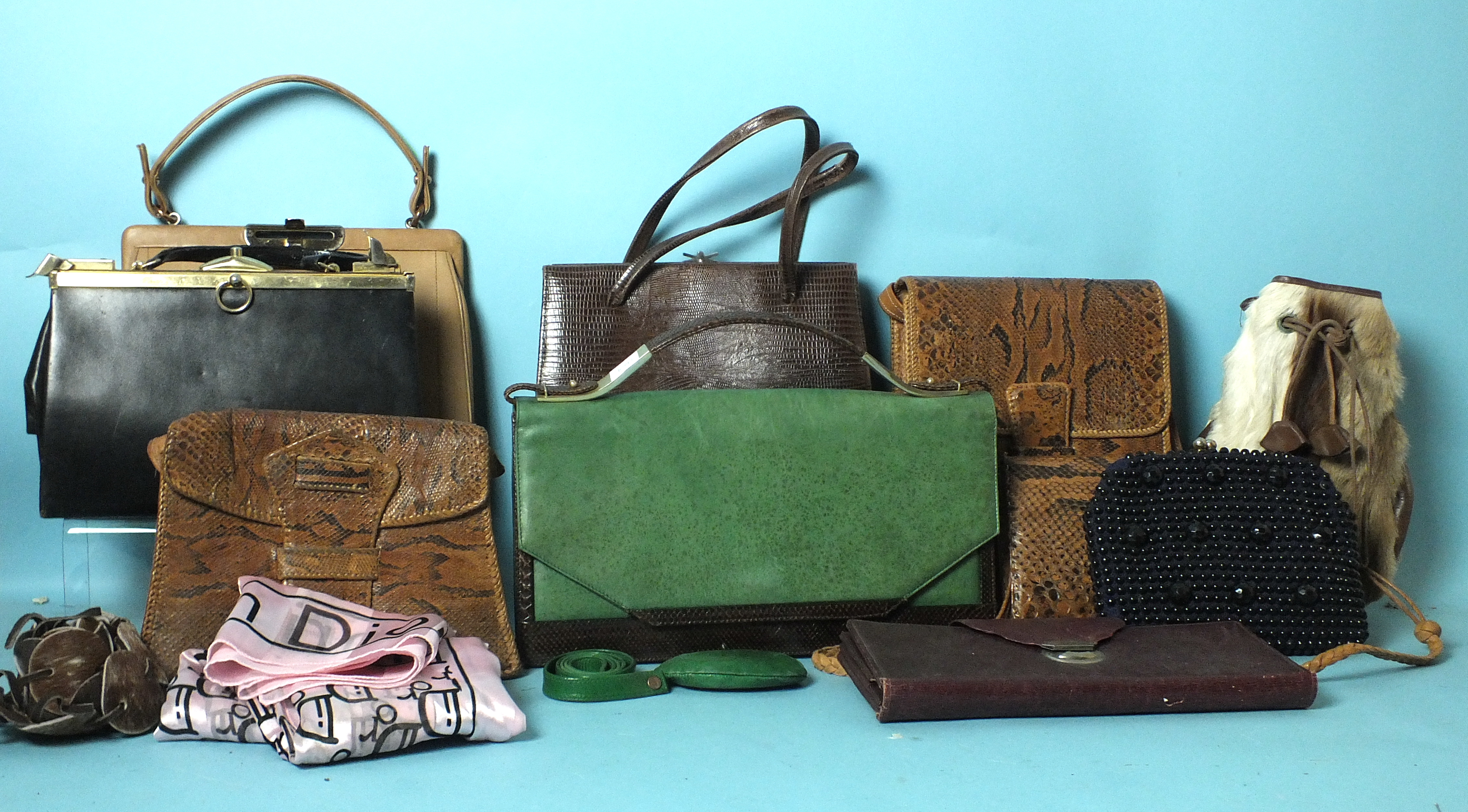 Lot 522 - Ten various handbags: an unnamed green leather and snake skin bag, handbags by Ackery, Bally and