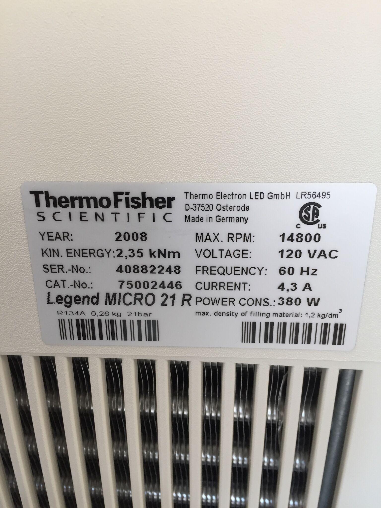 Lot 38 - Thermo Scientific Sorvall Legend Micro 21 R Centrifuge