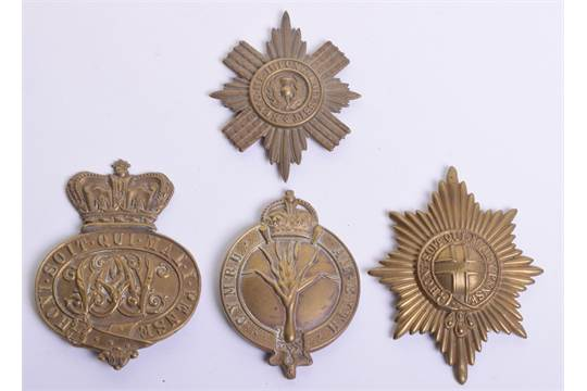 Four Guards Regiments Valise Badges, brass Victorian Grenadier